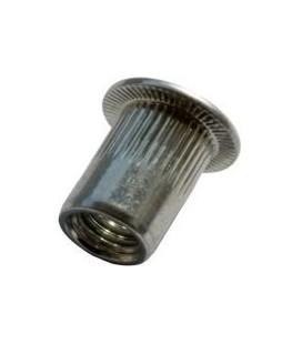 Заклепка M8*19 мм алюминиевая с внутренней резьбой, цилиндрический бортик, с насечкой