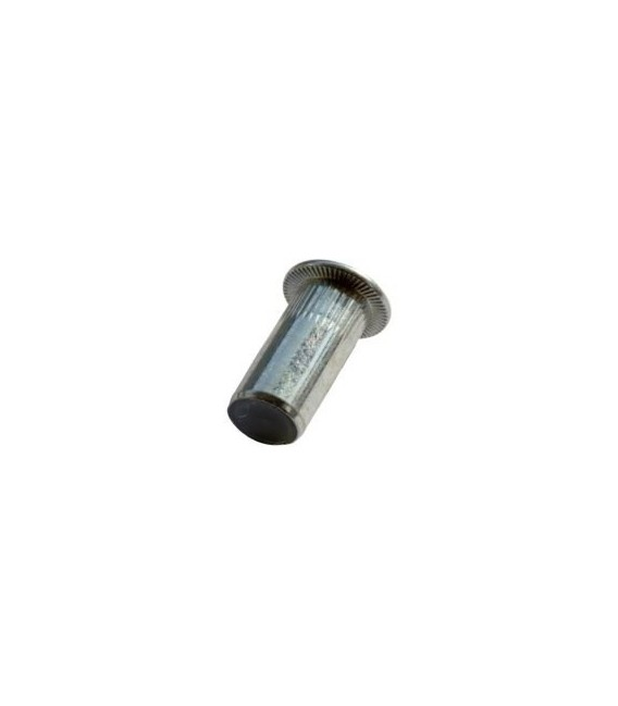 Заклепка M4*16,5 мм из стали с внутренней резьбой, цилиндрический бортик, закрытая с насечкой